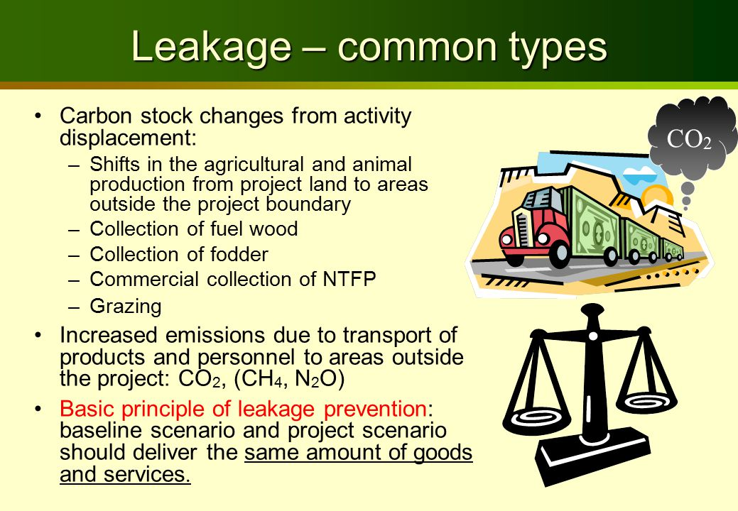 Leakage – common types Carbon stock changes from activity displacement: –Shifts in the agricultural and animal production from project land to areas outside the project boundary –Collection of fuel wood –Collection of fodder –Commercial collection of NTFP –Grazing Increased emissions due to transport of products and personnel to areas outside the project: CO 2, (CH 4, N 2 O) Basic principle of leakage prevention: baseline scenario and project scenario should deliver the same amount of goods and services.