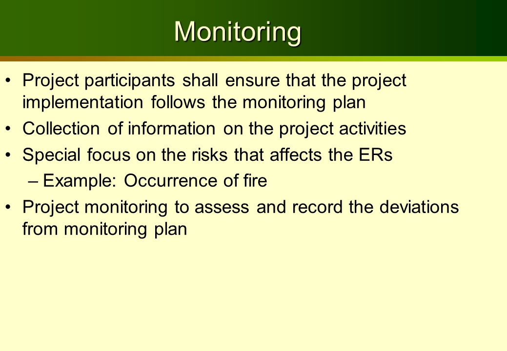 Monitoring Project participants shall ensure that the project implementation follows the monitoring plan Collection of information on the project activities Special focus on the risks that affects the ERs –Example: Occurrence of fire Project monitoring to assess and record the deviations from monitoring plan