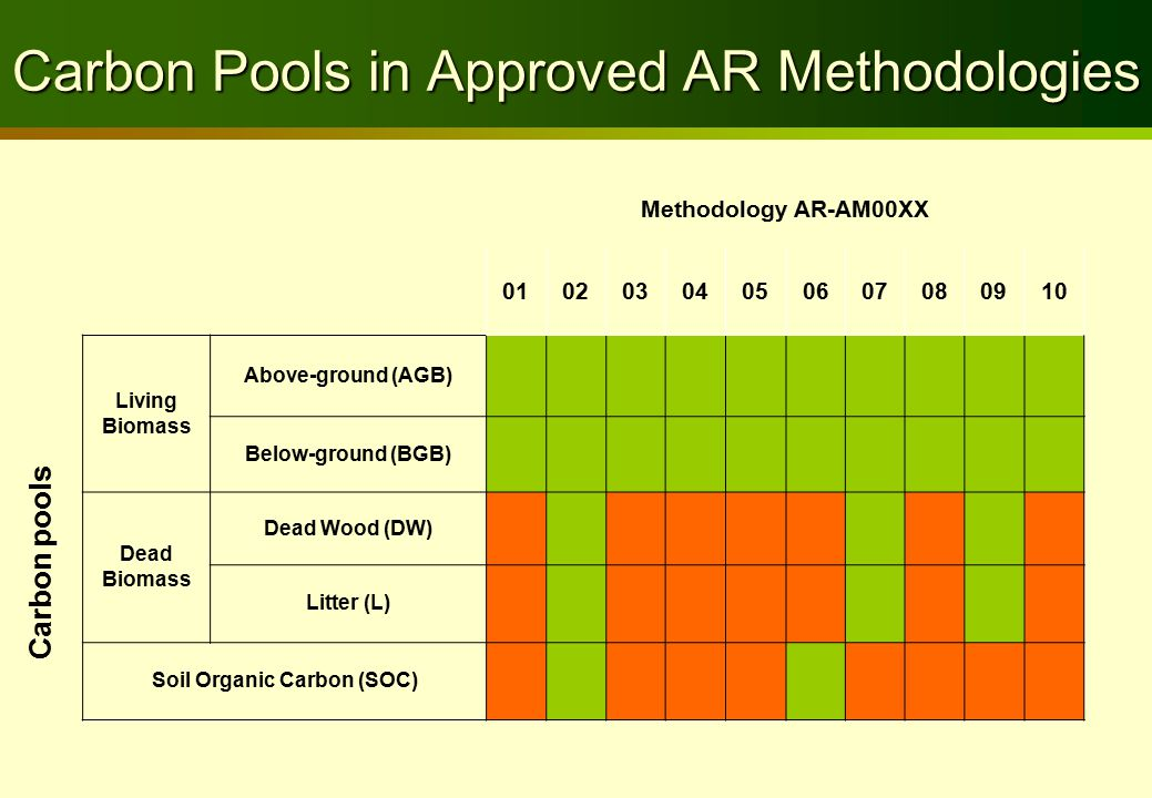 Carbon Pools in Approved AR Methodologies Methodology AR-AM00XX 01020304050607080910 Living Biomass Above-ground (AGB) Below-ground (BGB) Dead Biomass Dead Wood (DW) Litter (L) Soil Organic Carbon (SOC) Carbon pools
