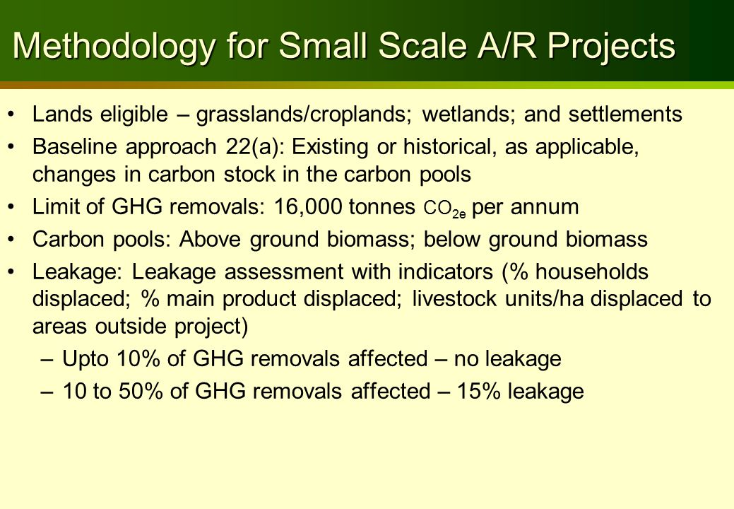 Accounting Carbon pools: more than 5 questions to answer Carbon poolComponentsBaseline Project Ex anteEx post above-ground biomass trees ?.
