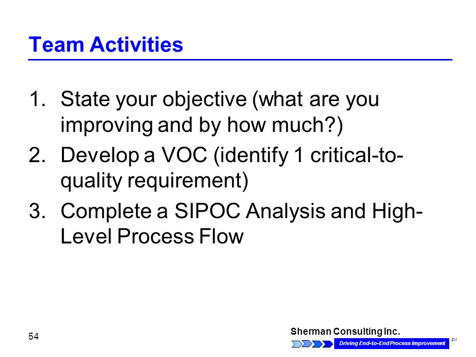 Sherman Consulting Inc. Driving End-to-End Process Improvement SM 54 Team Activities 1.State your objective (what are you improving and by how much?)