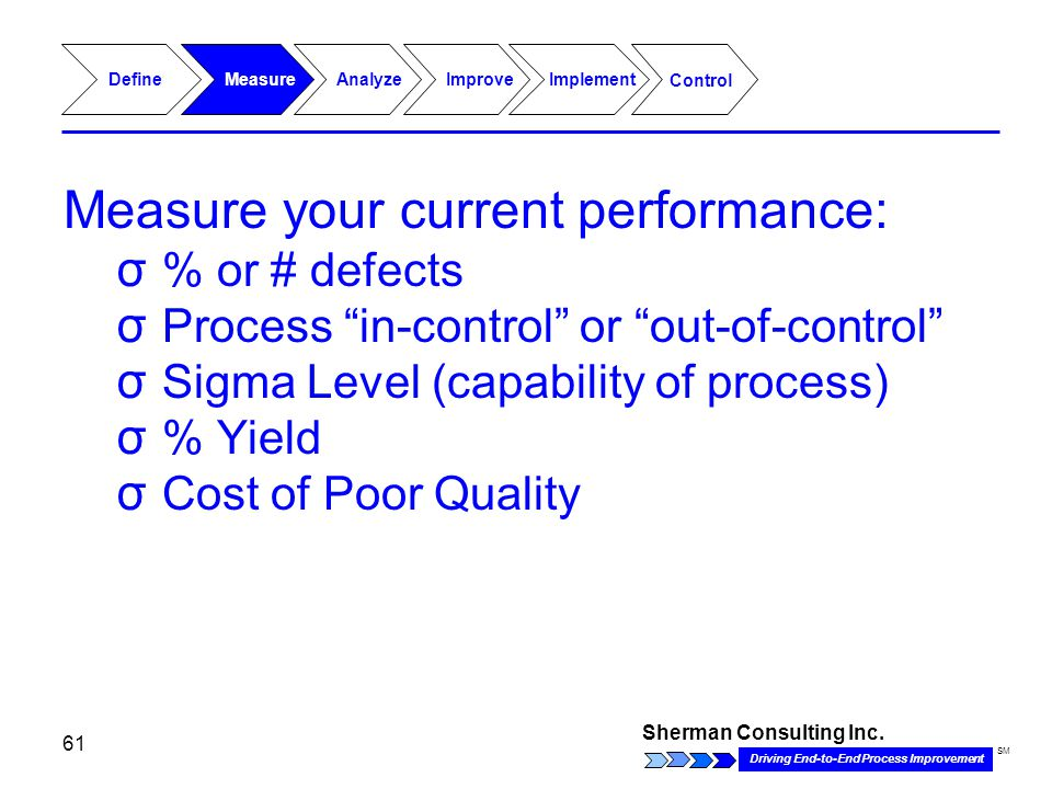 Sherman Consulting Inc. Driving End-to-End Process Improvement SM 61 Define Analyze MeasureImproveImplement Control Measure your current performance: