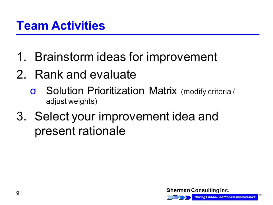 Sherman Consulting Inc. Driving End-to-End Process Improvement SM 91 Team Activities 1.Brainstorm ideas for improvement 2.Rank and evaluate σSolution