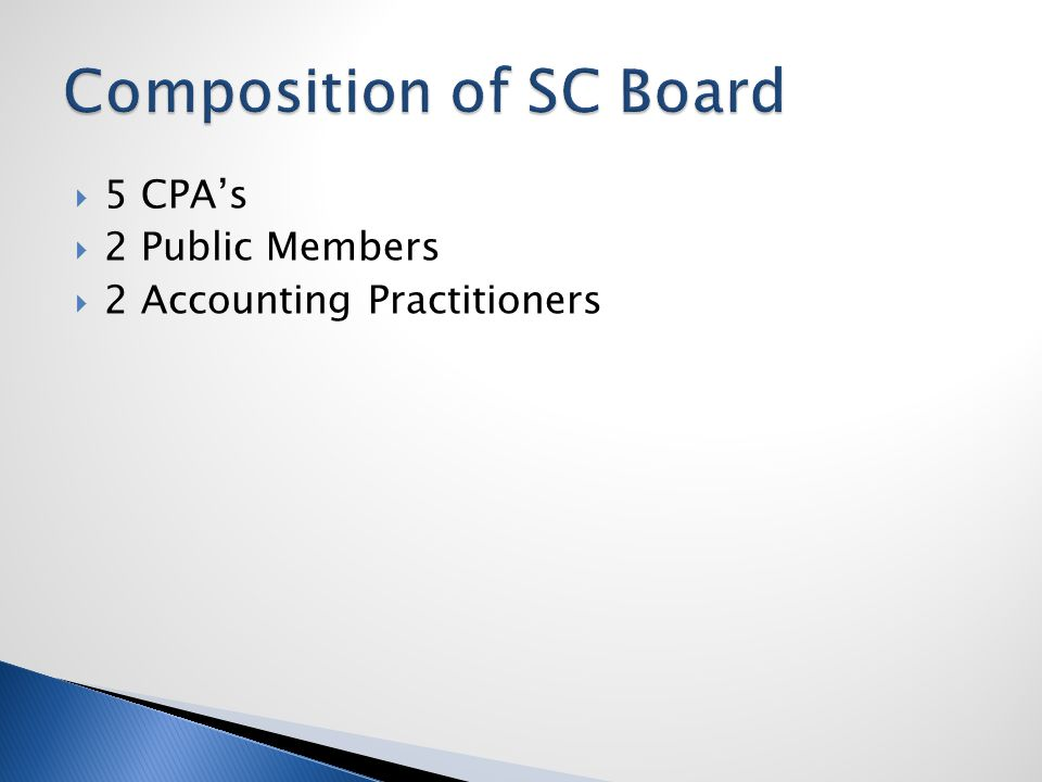  The South Carolina Board of Accountancy issued 180 new CPA licenses in the year 2010 ◦ 128 of those CPA licenses were original licenses ◦ 52 of those CPA licenses were based on reciprocity  As of the July 18, 2011 Board meeting, the Board has issued 154 new CPA licenses for the year 2011.