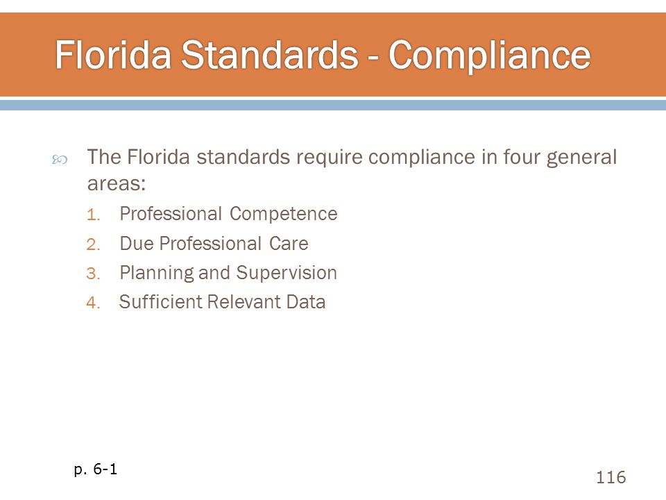  The Florida standards require compliance in four general areas: 1. Professional Competence 2. Due Professional Care 3. Planning and Supervision 4. S