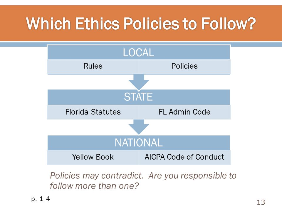 13 p. 1-4 NATIONAL Yellow BookAICPA Code of Conduct STATE Florida StatutesFL Admin Code LOCAL RulesPolicies Policies may contradict. Are you responsib