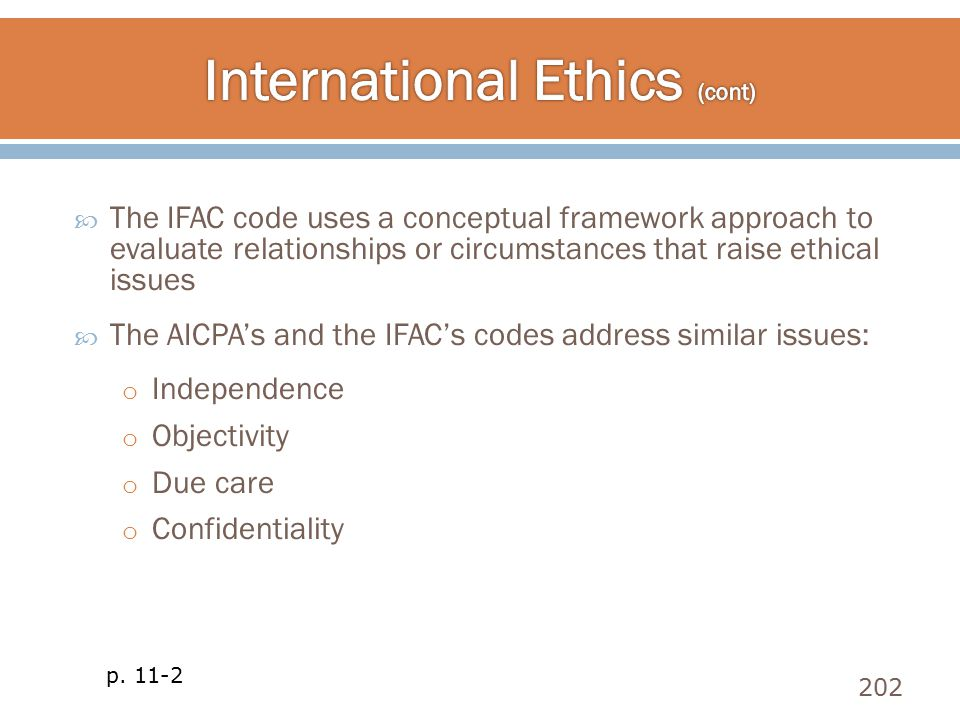  The IFAC code uses a conceptual framework approach to evaluate relationships or circumstances that raise ethical issues  The AICPA's and the IFAC's