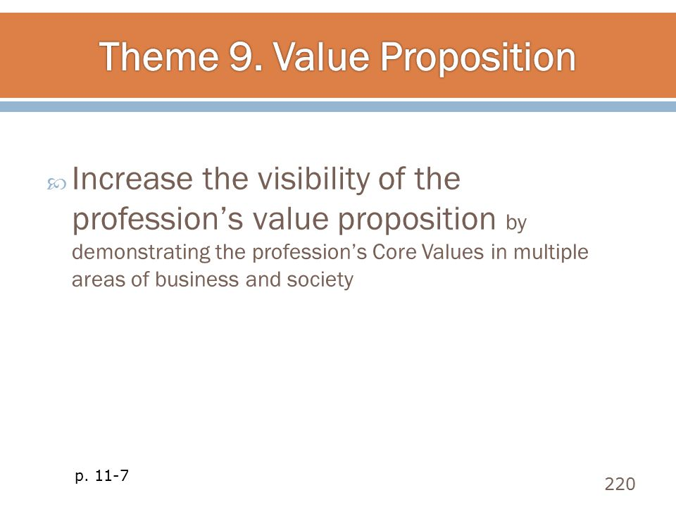  Increase the visibility of the profession's value proposition by demonstrating the profession's Core Values in multiple areas of business and societ