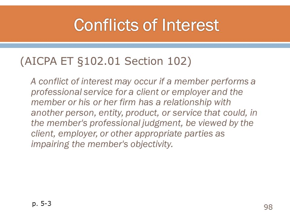 A conflict of interest may occur if a member performs a professional service for a client or employer and the member or his or her firm has a relation