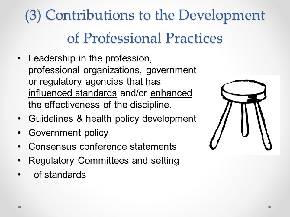 (3) Contributions to the Development of Professional Practices Leadership in the profession, professional organizations, government or regulatory agencies that has influenced standards and/or enhanced the effectiveness of the discipline.