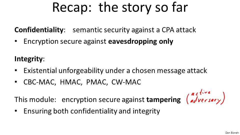 Dan Boneh Recap: the story so far Confidentiality: semantic security against a CPA attack Encryption secure against eavesdropping only Integrity: Exis