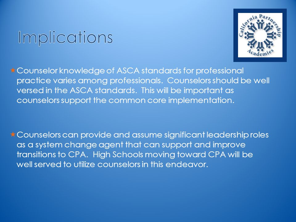  Counselor knowledge of ASCA standards for professional practice varies among professionals.