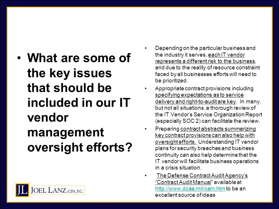 What are some of the key issues that should be included in our IT vendor management oversight efforts.