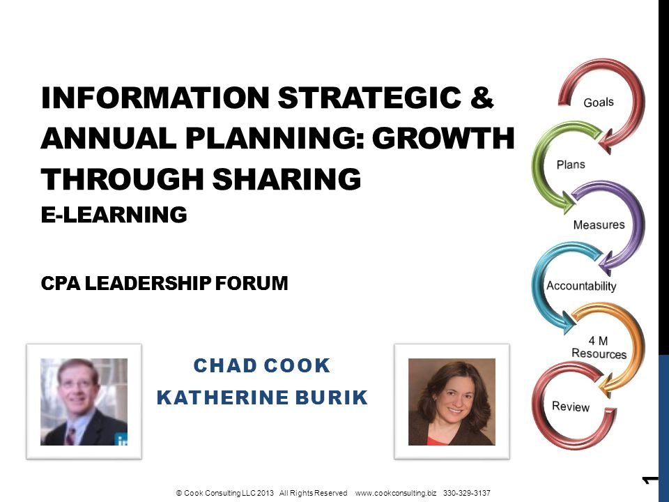 INFORMATION STRATEGIC & ANNUAL PLANNING: GROWTH THROUGH SHARING E-LEARNING CPA LEADERSHIP FORUM CHAD COOK KATHERINE BURIK 1 © Cook Consulting LLC 2013 All Rights Reserved www.cookconsulting.biz 330-329-3137