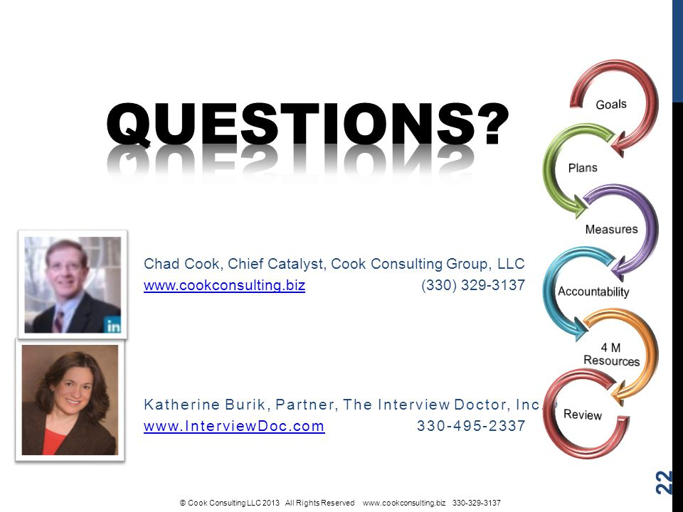 Katherine Burik, Partner, The Interview Doctor, Inc.® www.InterviewDoc.comwww.InterviewDoc.com 330-495-2337 Chad Cook, Chief Catalyst, Cook Consulting