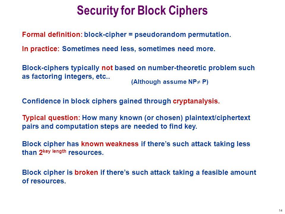 14 Security for Block Ciphers Formal definition: block-cipher = pseudorandom permutation.