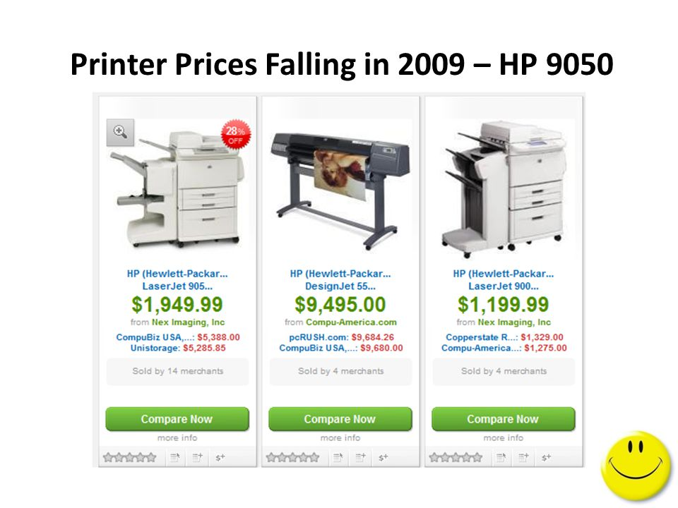 Printer Prices Falling in 2009 – HP 9050