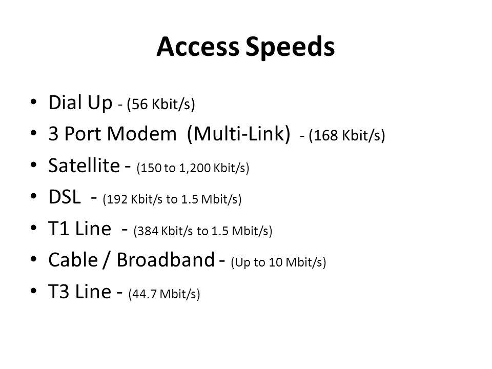 Access Speeds Dial Up - (56 Kbit/s) 3 Port Modem (Multi-Link) - (168 Kbit/s) Satellite - (150 to 1,200 Kbit/s) DSL - (192 Kbit/s to 1.5 Mbit/s) T1 Line - (384 Kbit/s to 1.5 Mbit/s) Cable / Broadband - (Up to 10 Mbit/s) T3 Line - (44.7 Mbit/s)
