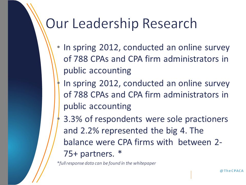 @TheCPACA In spring 2012, conducted an online survey of 788 CPAs and CPA firm administrators in public accounting 3.3% of respondents were sole practioners and 2.2% represented the big 4.