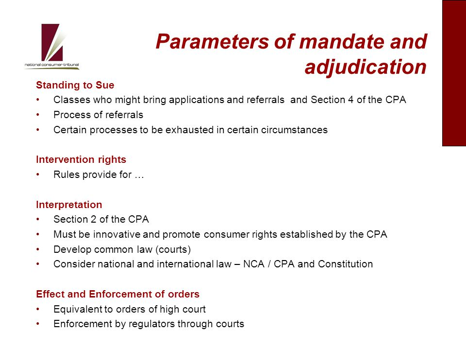 Parameters of mandate and adjudication Standing to Sue Classes who might bring applications and referrals and Section 4 of the CPA Process of referrals Certain processes to be exhausted in certain circumstances Intervention rights Rules provide for … Interpretation Section 2 of the CPA Must be innovative and promote consumer rights established by the CPA Develop common law (courts) Consider national and international law – NCA / CPA and Constitution Effect and Enforcement of orders Equivalent to orders of high court Enforcement by regulators through courts