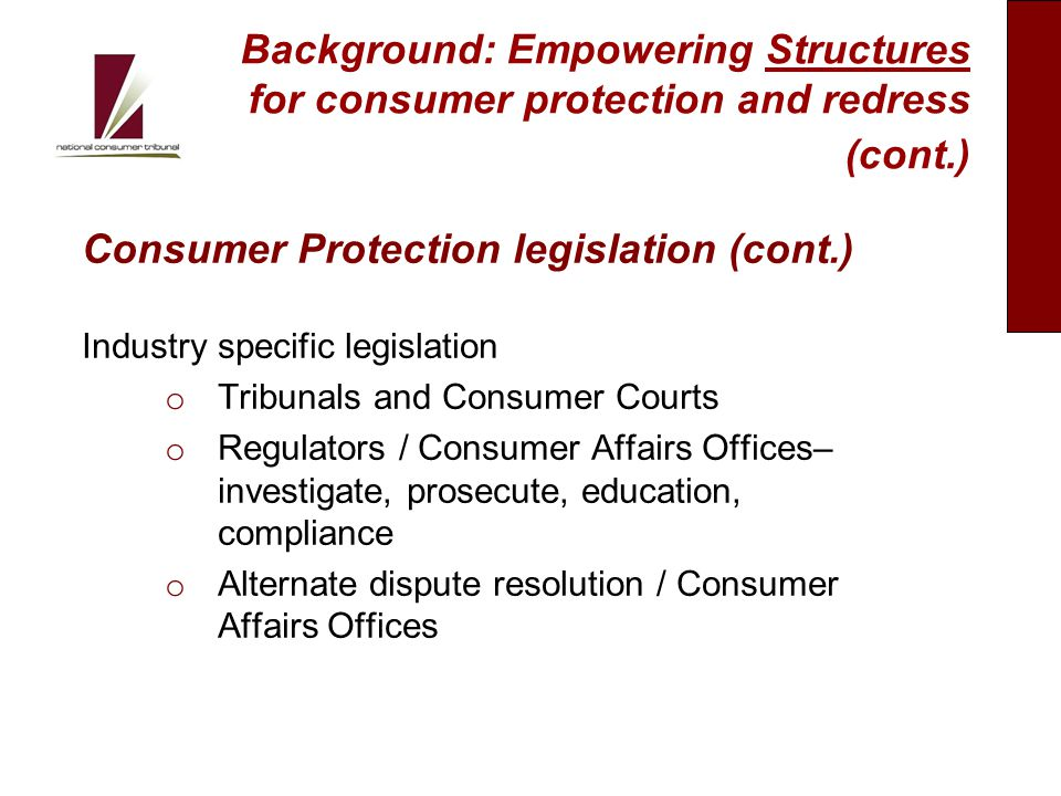 Delivery Model for Consumer Protection and Redress I 8