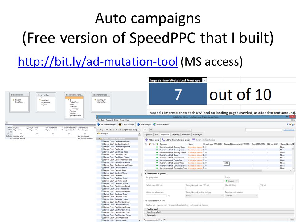 Auto campaigns (Free version of SpeedPPC that I built) http://bit.ly/ad-mutation-toolhttp://bit.ly/ad-mutation-tool (MS access)