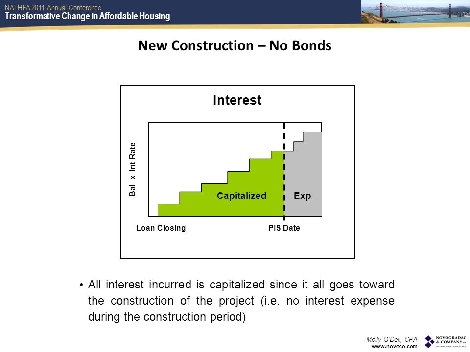 Transformative Change in Affordable Housing NALHFA 2011 Annual Conference Molly O'Dell, CPA www.novoco.com Loan ClosingPIS Date Bal x Int Rate Interest CapitalizedExp New Construction – No Bonds All interest incurred is capitalized since it all goes toward the construction of the project (i.e.