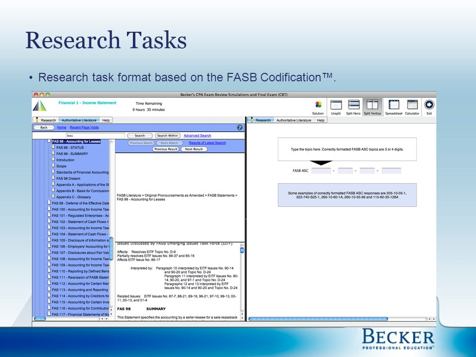 Research Tasks Research task format based on the FASB Codification™.