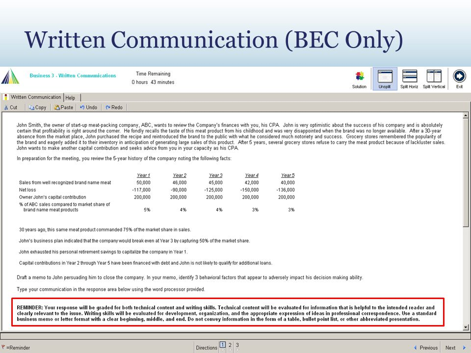Written Communication (BEC Only)