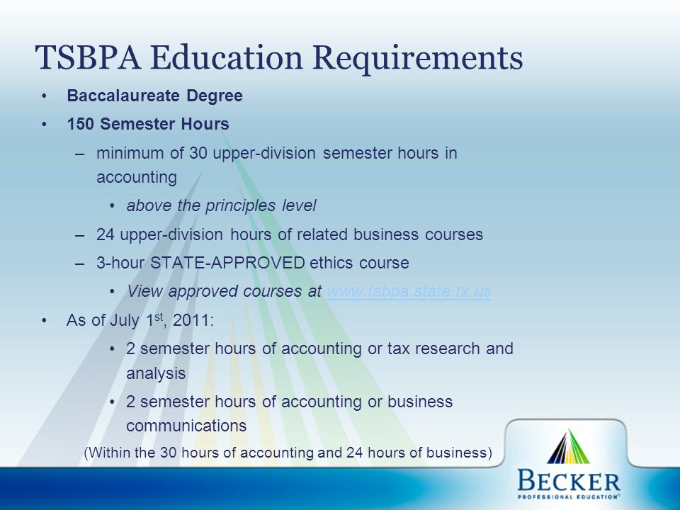 State Requirements Becker.com/state State Board of Accountancy ThisWaytoCPA.com NASBA.org (National Association of State Boards of Accountancy)