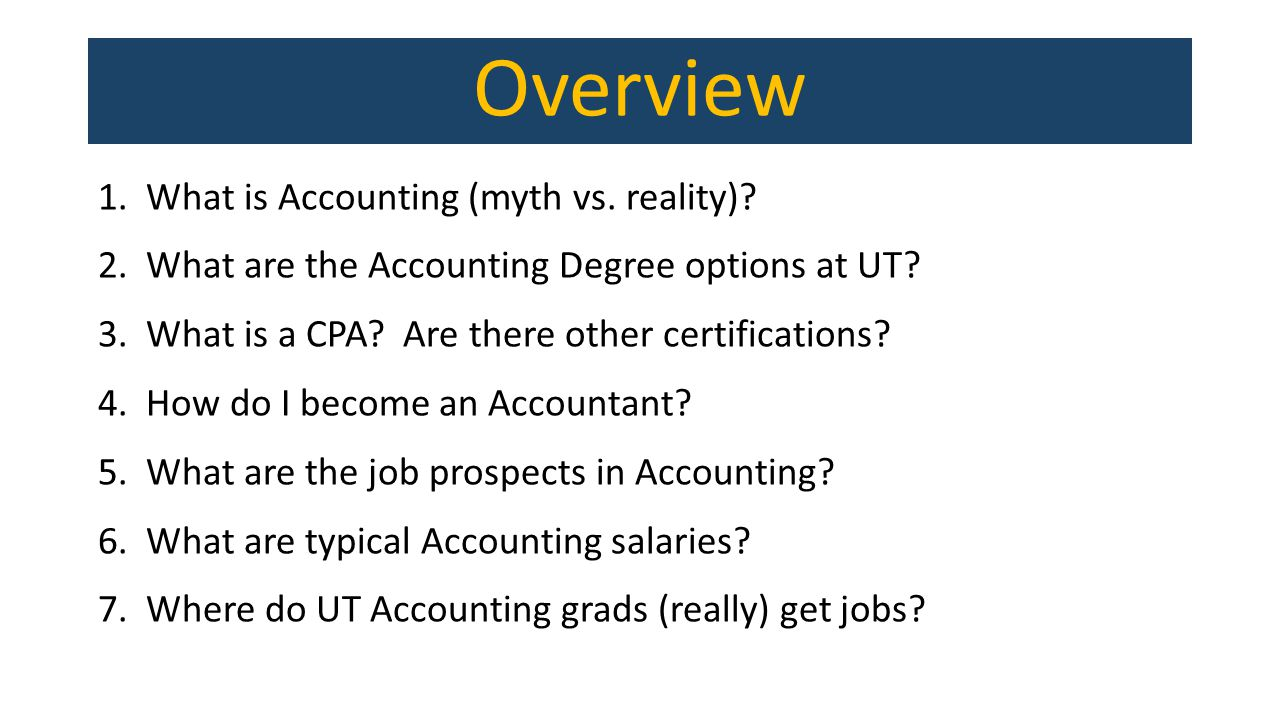 Overview 1.What is Accounting (myth vs. reality).