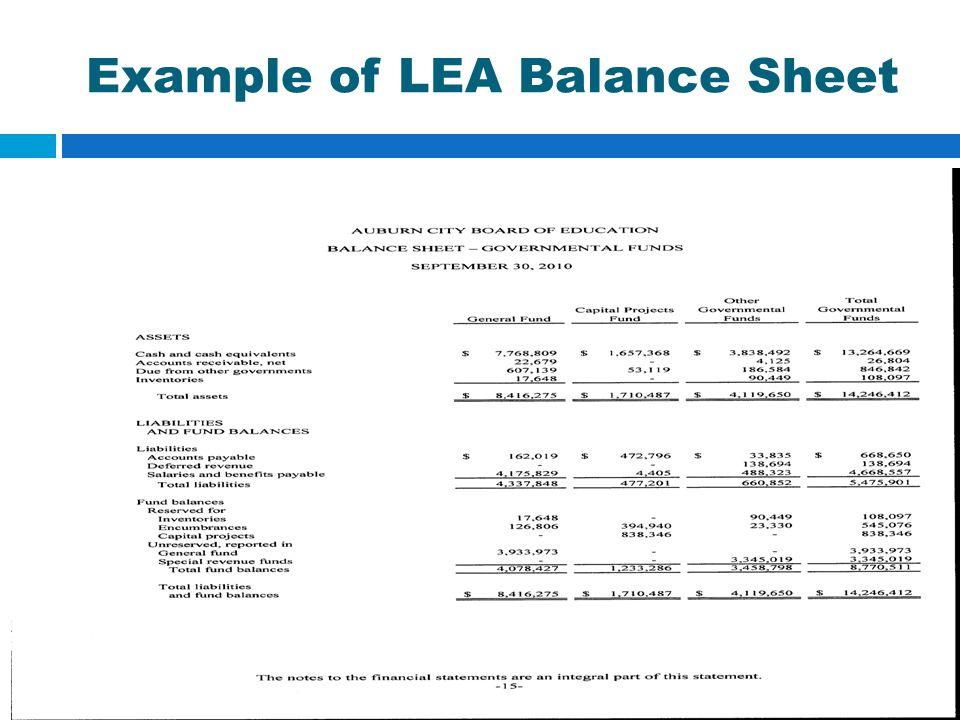 Example of LEA Balance Sheet