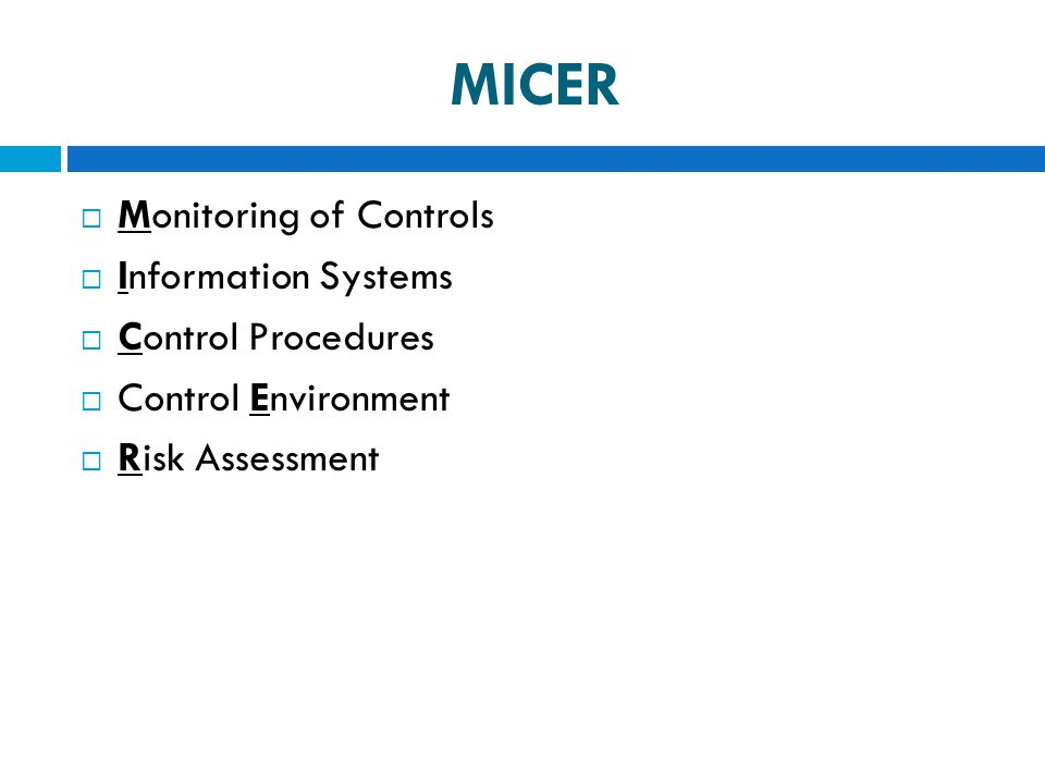 MICER  Monitoring of Controls  Information Systems  Control Procedures  Control Environment  Risk Assessment