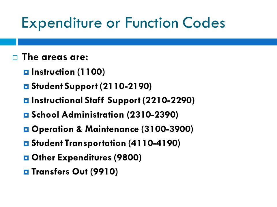 Expenditure or Function Codes  The areas are:  Instruction (1100)  Student Support (2110-2190)  Instructional Staff Support (2210-2290)  School A