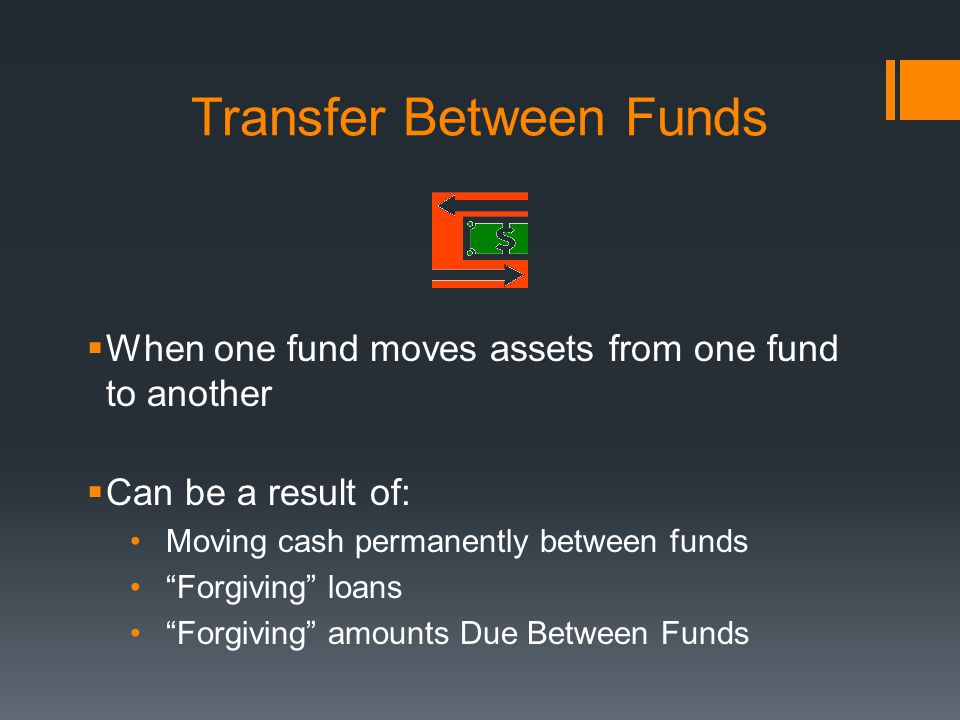 Transfer Between Funds  When one fund moves assets from one fund to another  Can be a result of: Moving cash permanently between funds Forgiving loans Forgiving amounts Due Between Funds