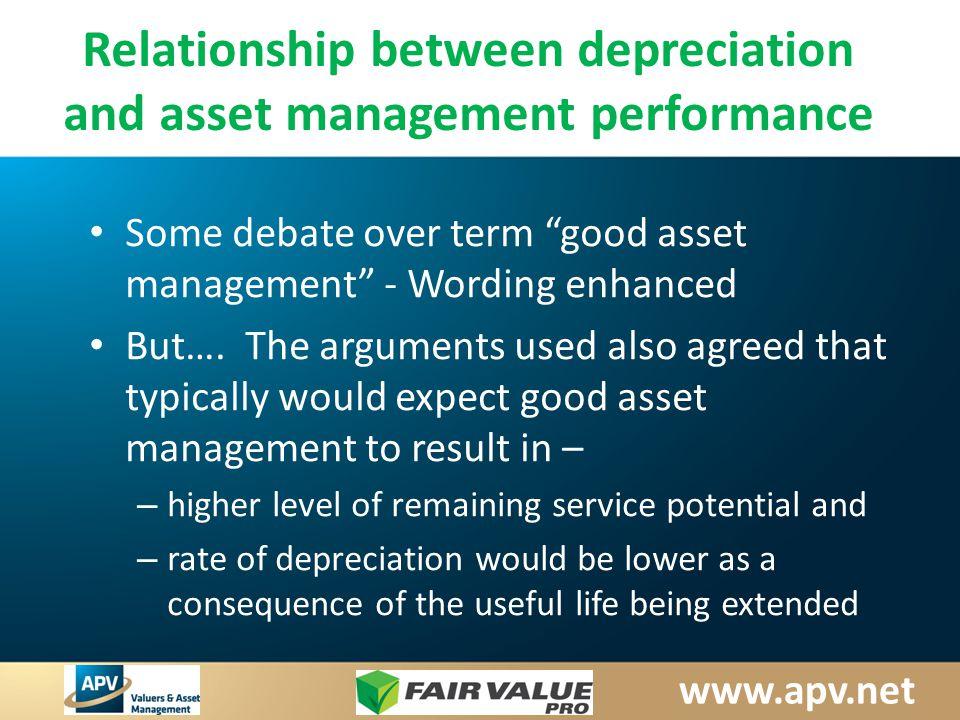 www.apv.net Relationship between depreciation and asset management performance Some debate over term good asset management - Wording enhanced But….