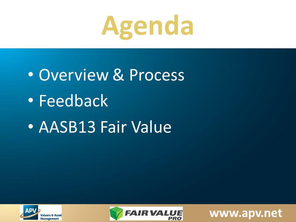 www.apv.net Agenda Overview & Process Feedback AASB13 Fair Value
