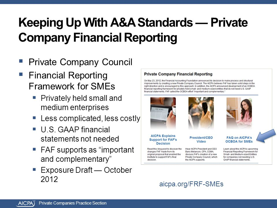 Private Companies Practice Section Keeping Up With A&A Standards — Private Company Financial Reporting  Private Company Council  Financial Reporting
