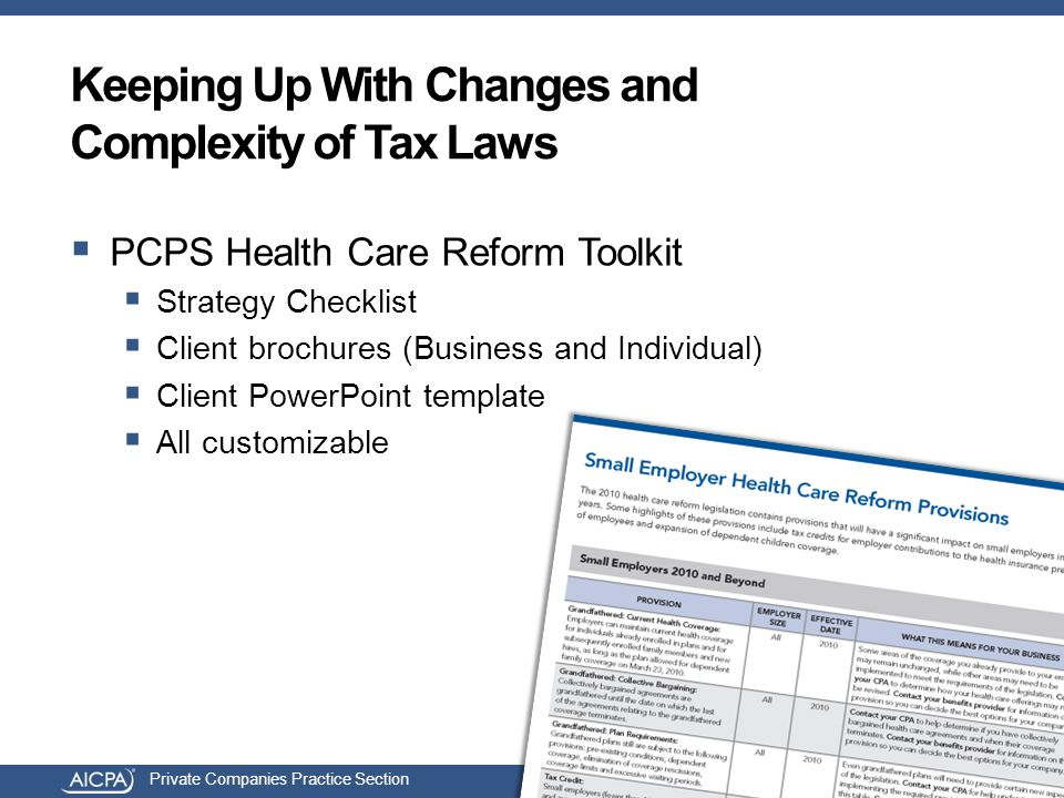 Private Companies Practice Section Keeping Up With Changes and Complexity of Tax Laws  PCPS Health Care Reform Toolkit  Strategy Checklist  Client brochures (Business and Individual)  Client PowerPoint template  All customizable