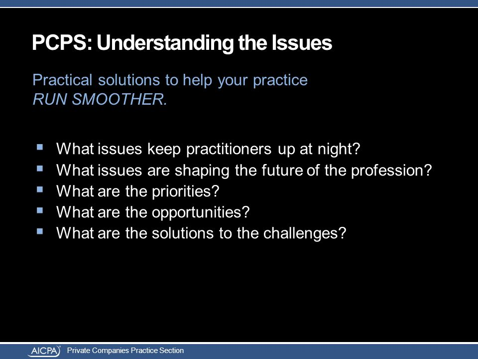Private Companies Practice Section  What issues keep practitioners up at night?  What issues are shaping the future of the profession?  What are th