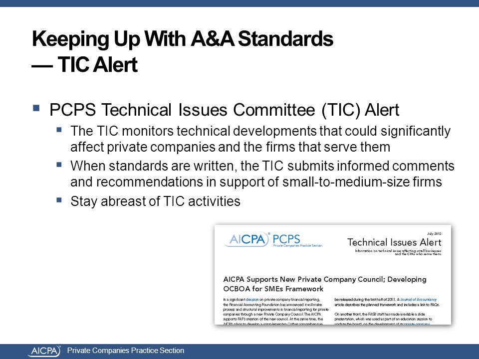 Private Companies Practice Section  PCPS Technical Issues Committee (TIC) Alert  The TIC monitors technical developments that could significantly affect private companies and the firms that serve them  When standards are written, the TIC submits informed comments and recommendations in support of small-to-medium-size firms  Stay abreast of TIC activities Keeping Up With A&A Standards — TIC Alert