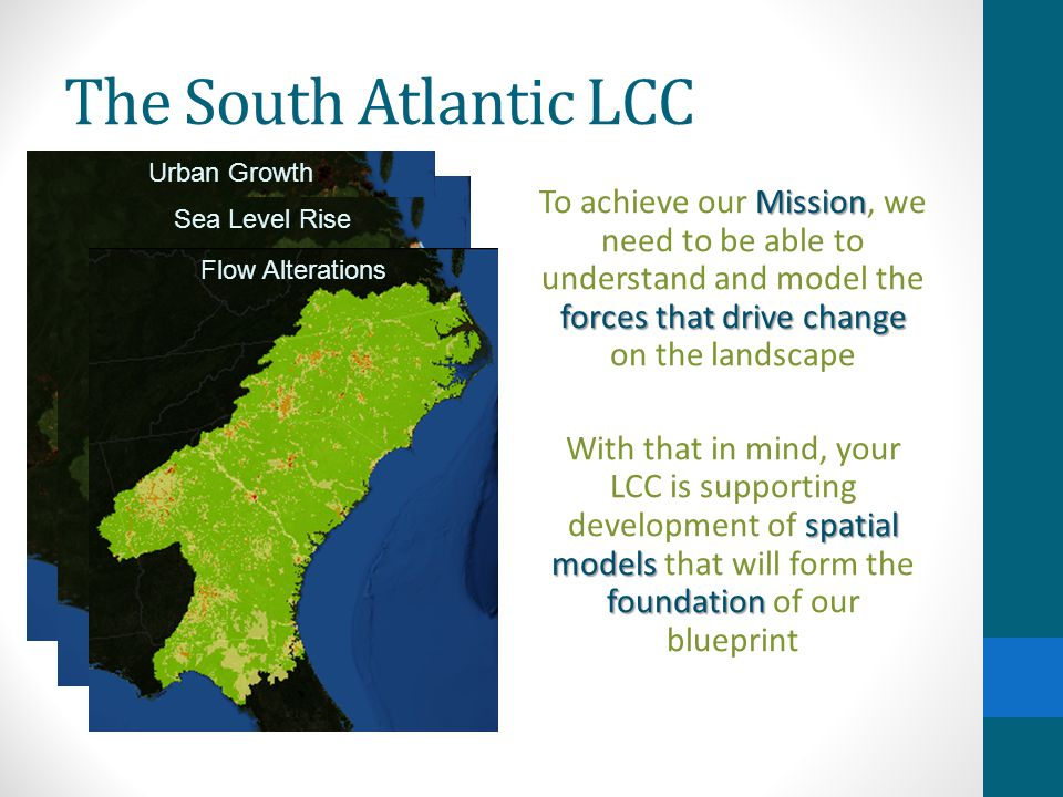 The South Atlantic LCC spatial models The outputs from those spatial models are now becoming available integrate blueprint Your LCC is working to integrate these models into the bigger context of the blueprint Your LCC is also working to make the these data available to all the partners Urban Growth Sea Level Rise Flow Alterations