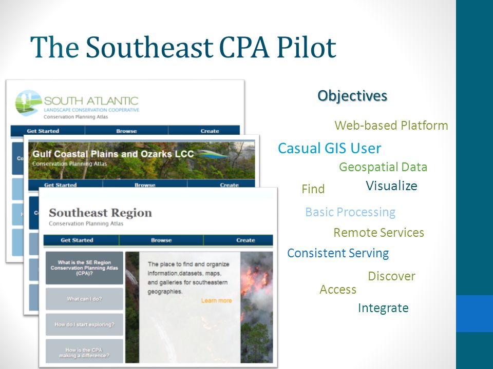 The Southeast CPA Pilot Considerations existing platform Do not duplicate the good work of others: existing platform easy navigation between geographic areas Do not over-burden users that overlap multiple LCCs: easy navigation between geographic areas users do not need desktop GIS systems Target non-technical users: users do not need desktop GIS systems