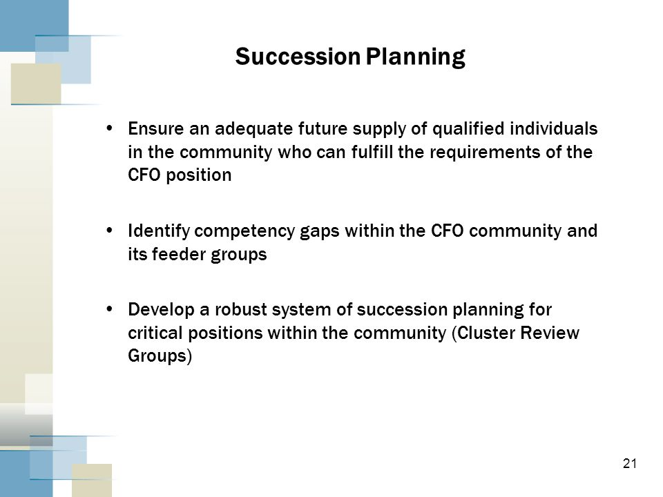 Succession Planning Ensure an adequate future supply of qualified individuals in the community who can fulfill the requirements of the CFO position Identify competency gaps within the CFO community and its feeder groups Develop a robust system of succession planning for critical positions within the community (Cluster Review Groups) 21