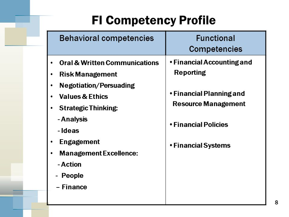 8 Behavioral competenciesFunctional Competencies Oral & Written Communications Risk Management Negotiation/Persuading Values & Ethics Strategic Thinking: - Analysis - Ideas Engagement Management Excellence: - Action - People – Finance Financial Accounting and Reporting Financial Planning and Resource Management Financial Policies Financial Systems FI Competency Profile