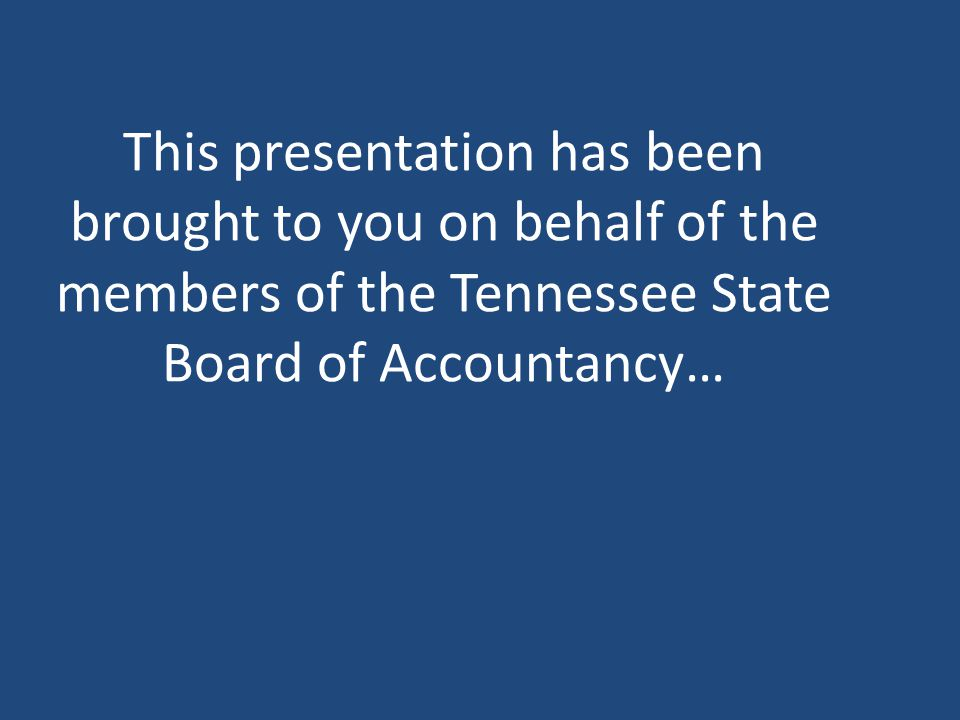 Questions? Contact Information – Phone: 888-453-6150 or 615-741-2550 – Fax: 615-532-8800 – Web: http://tn.gov/commerce/boards/tnsbahttp://tn.gov/comme