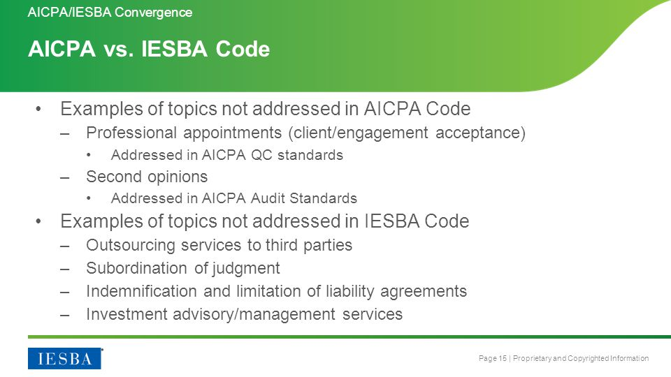 Page 15 | Proprietary and Copyrighted Information AICPA vs. IESBA Code AICPA/IESBA Convergence Examples of topics not addressed in AICPA Code –Profess
