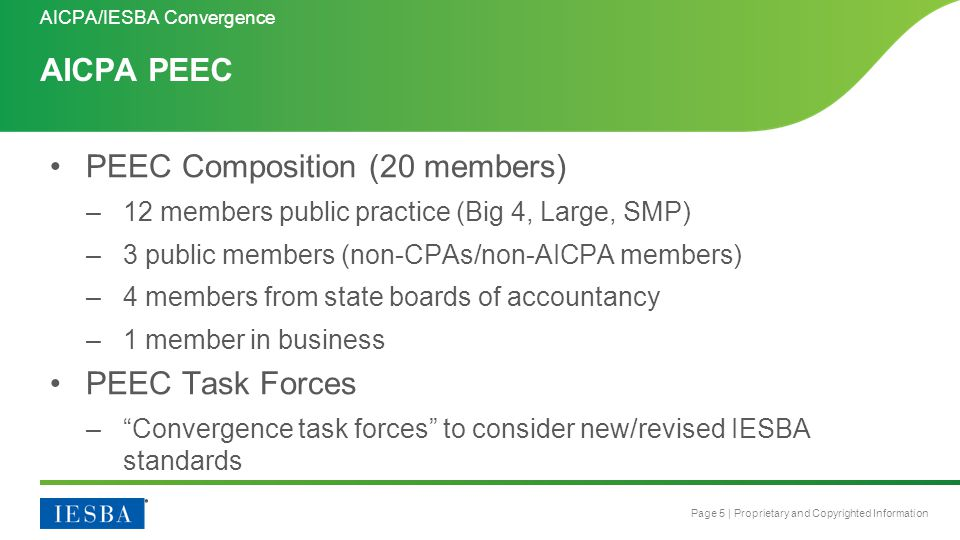 Page 5 | Proprietary and Copyrighted Information AICPA PEEC AICPA/IESBA Convergence PEEC Composition (20 members) –12 members public practice (Big 4,