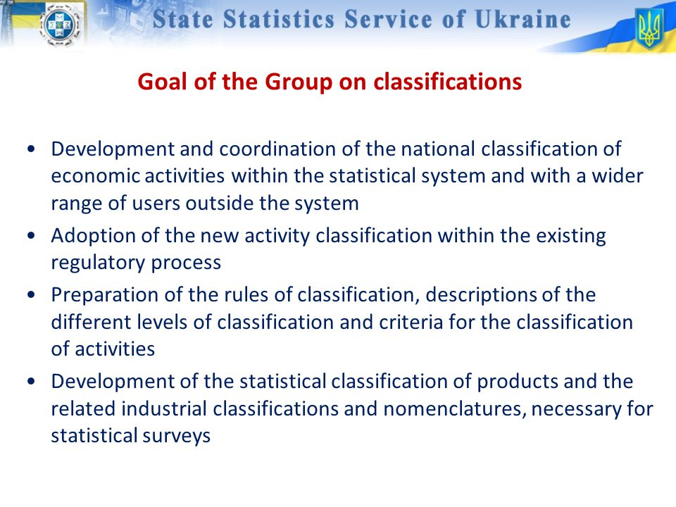 Goal of the Group on classifications Development and coordination of the national classification of economic activities within the statistical system and with a wider range of users outside the system Adoption of the new activity classification within the existing regulatory process Preparation of the rules of classification, descriptions of the different levels of classification and criteria for the classification of activities Development of the statistical classification of products and the related industrial classifications and nomenclatures, necessary for statistical surveys