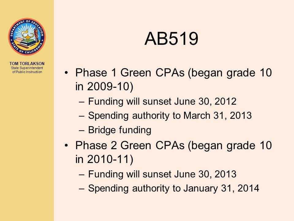 TOM TORLAKSON State Superintendent of Public Instruction AB519 Phase 1 Green CPAs (began grade 10 in 2009-10) –Funding will sunset June 30, 2012 –Spen